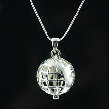 925 Sterling Silver Necklace - Silver Earth Globe Necklace World Traveler Locket