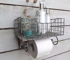 Rustic Whitewashed Metal Shelf with Rail, Toilet Roll Holder, Towel Rail