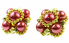 KITSCH LADIES VINTAGE INSPIRED CLIP ON EARRINGS,GOLD TONE/PURPLE FAUX PEARL(ZX2)