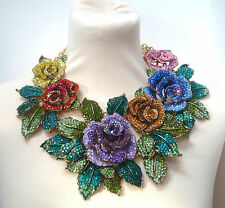 Butler and Wilson XXL Multi COUTURE Crystal Enamel Rose Flower Necklace NEW