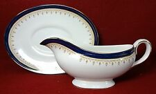 AYNSLEY china LEIGHTON-COBALT Smooth pattern 2-piece Gravy Boat - Factory 2nd