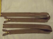 "2 Brass 26"" YKK Heavy Duty Zippers #5 Open end For Jackets or Coats Lt Brown"