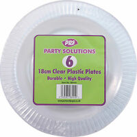 """18 x CLEAR ROUND PLASTIC DISPOSABLE PARTY PLATES 7"""" 18cm STRONG DURABLE REUSABLE"""