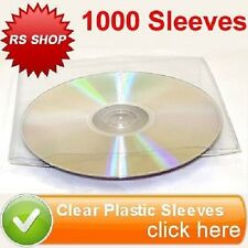 1000 CD DVD DISC CLEAR PLASTIC SLEEVE WALLET COVER CASE WITH FLAP