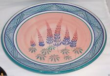 Columbia Falls Maine Pottery Plate Lupines Floral Signed April Adams USA 16 inch