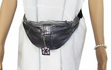 LEATHER Bum bag, BELT BAG, Black 901