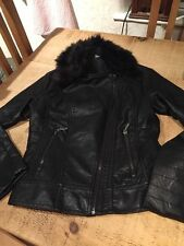 FAB LEATHER LOOK BIKER JACKET WITH FAUX FUR COLLAR SIZE UK 10 EUR 38