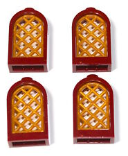 4x LEGO® Fenster 1x2x3 Rund mit Gittereinsatz 30044+30046 NEU Dunkelrot Perlgold