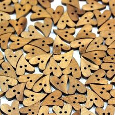 S10 100pcs 2 Holes Lovely Brown Wood Wooden Sewing Heart Shape Button Craft