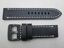 24mm genuine leather watch band black oil treated fits Victorinox Swiss Army
