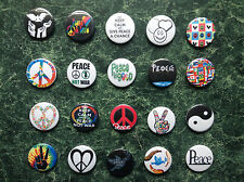 20 X PEACE BUTTON BADGES SET 3 -1 INCH/ 25MM CND FANCY DRESS  HIPPY LOVE NOT WAR