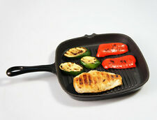 24cm wide BLACK Cast Iron SQUARE Griddle Skillet Fry Grill Pan Enamelled Frying