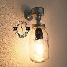 INDUSTRIAL KILNER MASON JAM JAR WALL LIGHT RETRO VINTAGE SCONCE WORKS WITH LED