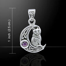 Peter Stone Cat on Crescent Moon Sterling Silver Wiccan Pagan Metaphysical