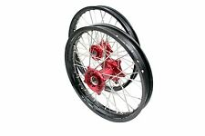 "COMPLETE WHEEL SET HONDA CNC BLACK RIM RED HUB CRF 250R 450R 21"" 19"""