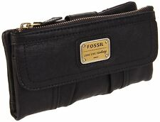 Black Fossil Emory Clutch Zip Leather Women Wallet Purse Organizer Money Holder