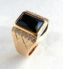 Fashion Mens 18K Yellow Gold Plated Simulated Diamond Black Luxury Ring Size 9 R