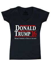 Donald Trump 2016 Women's V-Neck T-shirt Make America Great Again Political Tee