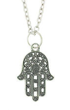 Lucky Hamsa Tibetan Silver Pendant - Fatimas Hand of God Protection
