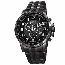 August Steiner Mens AS8118BK Chronograph Black Gunmetal Bracelet Watch