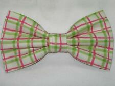 (1) PRE-TIED BOW TIE - WATERMELON PLAID - LIME GREEN, PINK & IVORY