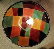 Tabletops Gallery Caracas 10 Inch Serving Bowl Multi Colored Squares