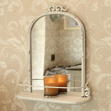 Cream Antique Style wall Mirror shelf bedroom living room french country shabby