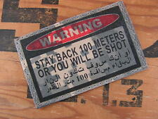 SNAKE PATCH - WARNING STAY BACK 100 METERS - ACU DIGITAL IRAK US ARMY SNIPER