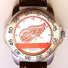 Detroit Red Wings Sportivi New Unworn, NHL Mens Vintage 1997 Leather Watch! $79