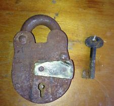 Vtg Antique Iron Padlock w/ Key Arabic Muslim Ottoman Brass Jail Bank Lock Works
