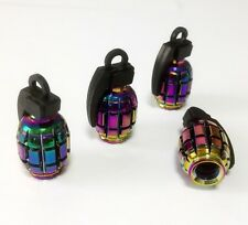 Neo Chrome Rainbow Grenade Tyre Wheel Valve Bullet Dust Caps x4 Car Bike BMX JDM