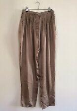 =LUXURIOUS= LANVIN $920 Champaign Silk Satin Pleated Wide-Legged Pants US6