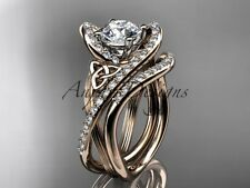 14kt rose gold diamond celtic trinity knot wedding ring, engagement set CT7369S