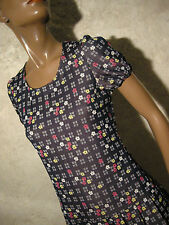 CHIC VINTAGE ROBE JERSEY 1960 VTG DRESS 60s KLEID 60er ABITO RETRO (36/38)
