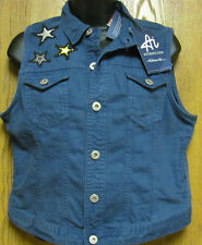 AI AUTHENTIC ICON FESTIVAL GIRL BLUE DENIM VEST WITH STARS SIZE L NWT