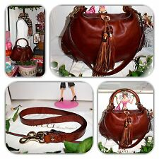 ��FASHIONABLE-GUCCI BROWN INDY 2 TASSEL GG EMBOSSED GUCCISSIMA HANDBAG/HOBO!��