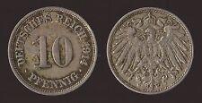 GERMANIA GERMANY 10 PFENNIG 1914 F