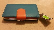 New Authentic Kelly & Katie Woman wallet Genuine 100% Leather Blue Orange Color