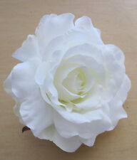 "Large 5"" White Silk Rose Flower Brooch Pin, Bridal, Dance, Prom, Wedding"