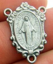 MRT Miraculous Mary Medal Rosary Oval Rose Centerpiece Silver Plate Italy 3/4""