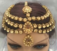 New Diamante Golden Crystals Head Chain Matha Patti Tika Tikka Indian Bollywood