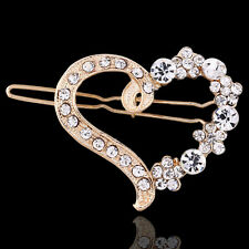 Delicate Alloy Crystal Rhinestone Heart Barrette Hair Clip Hairpin For Girl Gift