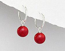 Sterling Silver Genuine Natural Red Coral Ball Dangle Hoop Earrings