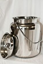New 10 Qt Stainless Steel Milk Can Tote With Lid, Seamless, (2-1/2 Gal)