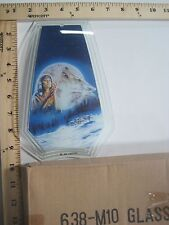 FREE US SHIP OK Touch Lamp Replacement Glass Panel Indian Woman Wolf 638-M10