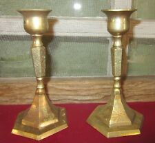 Heavy Brass Etched Used Candle Stick Holders For Taper Candles Easter Tablescap