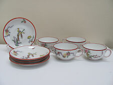 Antique Jean Pouyat JP Limoges POY52 Oriental Bird 4 Cups and Saucers