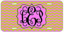 Personalized Monogrammed Chevron Pink Neon License Plate Custom Car Tag L470