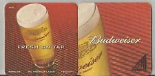 "Budweiser UK Beer Coaster 3.5"" x 3.5"" square  two different sides of artwork"
