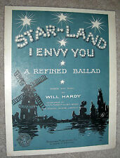 1911 STAR LAND (I Envy You) Antique Sheet Music by Will Hardy - A Refined Ballad